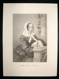 Frederika Bremer 1873 Antique Portrait Print